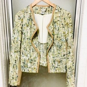 Cache Lime & Tan Tweed Blazer Jacket 4